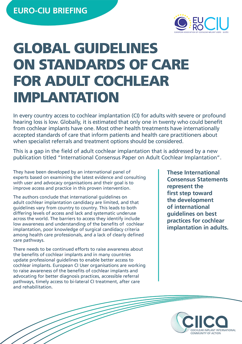 Global Guidelines: Standards of Care for Adult Cochlear Implantation